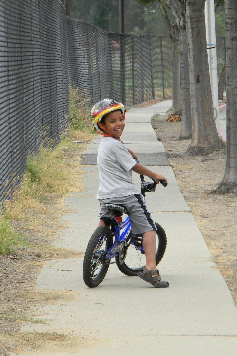 Jackson on his bike