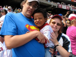 The 3 of Us at Jack's First Baseball Game (A's vs. Red Sox)