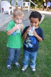 Jack & Orion enjoying lemonade