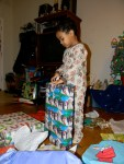 Opening a present from Great Grandma