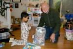 Jack and Grandpa Bob open Jack's presents