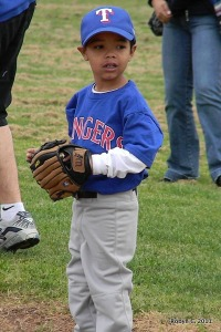 Jackson playing his first inning of t-ball