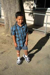 Jackson outside his classroom