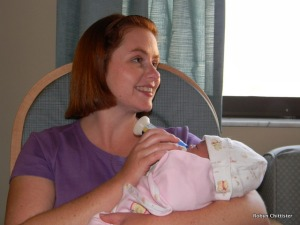 Robyn Feeding Cassie - 1 Day Old