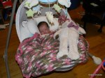 Cassie in her swing with her new teddy bear