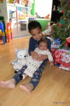 Jackson and Cassie in front of the tree