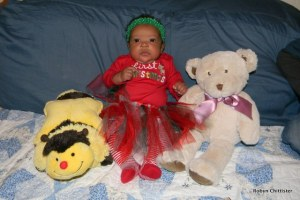 Cassie with Honey and Her Bear