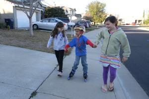 Eliana, Jackson on roller blades, Eden