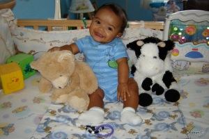 Jackson with his bear and his cow