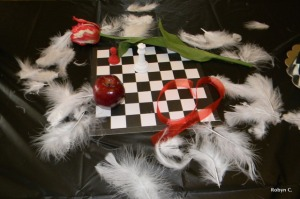 Twilight centerpiece, apple, tulip, ribbon, chessboard and pieces, feathers