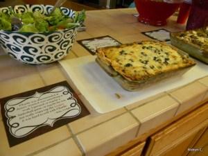 Lasagna, salad, and garlic bread