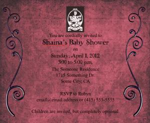 Twilight Baby Shower Invite