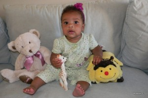 Cassie with her bear and her bee
