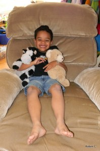 Jackson with his cow and bear