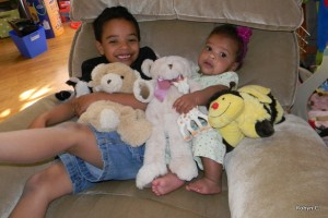 Jackson and Cassie with their special stuffed animals