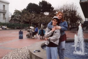 Max and Robyn in front of a fountain on the UC Berkeley campus