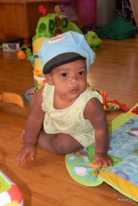 Cassie in a Thomas the Tank Engine Hat
