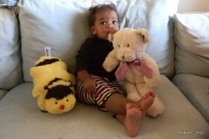 Cassie with her bee and bear