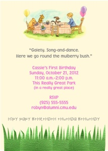 Cassie's 1st Birthday Invitation