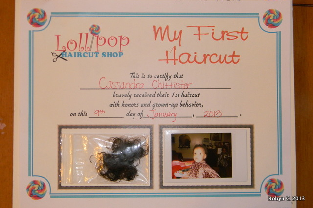 My First Haircut Certificate Holding To The Ground