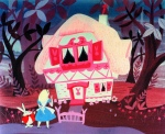 Alice in Wonderland and the White Rabbit in front of a house