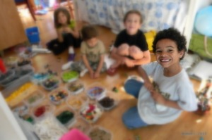 Jackson playing Legos with friends