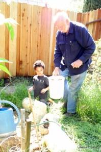 Jackson and Grandpa planting a garden