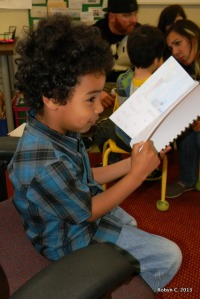 Jackson reading his book at Young Authors