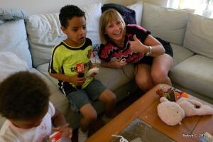 Jackson plays Skylanders with Auntie Ann