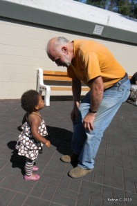 Cassie and Grandpa outside Jackson's school play