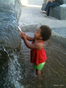 Cassie wading in a fountain