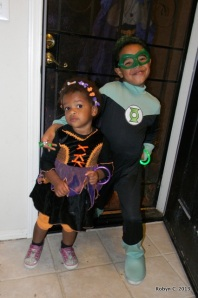 Cassie as a witch, Jackson as Green Lantern