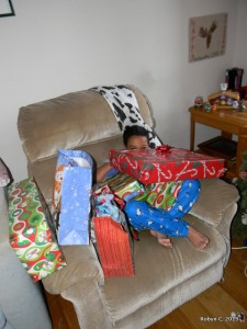 Jackson, slightly less surrounded by presents