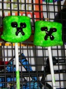 Creeper marshmallow pops made with food coloring