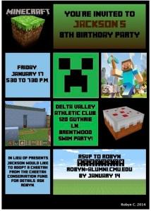 Minecraft Party Inviation