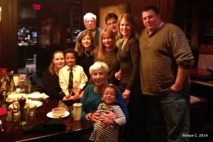 Robyn, Jackson, Sue, Bob, Carol, Max, Beth, John, Diane, Cassie at dinner