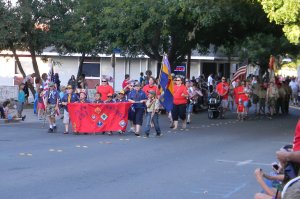 Cub Scouts marching in the July 4th parade
