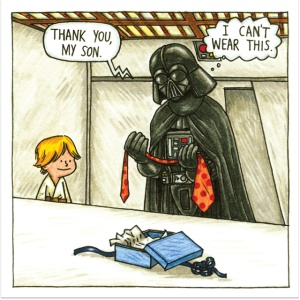 Darth Vader receives a tie for Father's Day