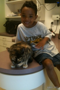 August 2012: Jinxy and Jackson at the vet