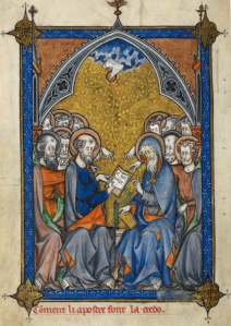 This illumination from a 13th-century manuscript shows the apostles writing the Creed, receiving inspiration from the Holy Spirit.