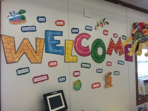 Cassie's classroom welcome wall