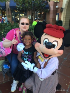 Robyn and Cassie with Mickey Mouse
