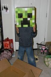 Jackson got a Creeper head for his birthday